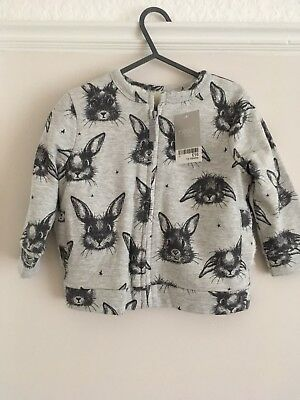 Baby Girl Next Bomber Jacket Coat BNWT Grey Bunny Pattern 12-18 Months