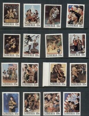 NORMAN ROCKWELL BOY SCOUT STAMPS - 16 different, all mint, unused and VF