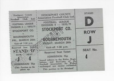 Stockport County V Bournemouth 1971 Unused Ticket Mint Condition England Fa Cup