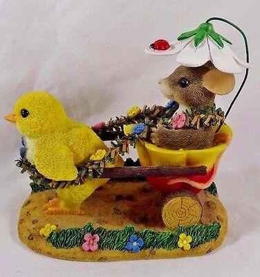 Charming Tails Figurine Chickie Chariot Ride Easter