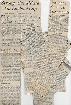 COLLECTION 1930s PORTSMOUTH MATCH REPORTS CUTTINGS ENGLAND FA CUP EPHEMERA