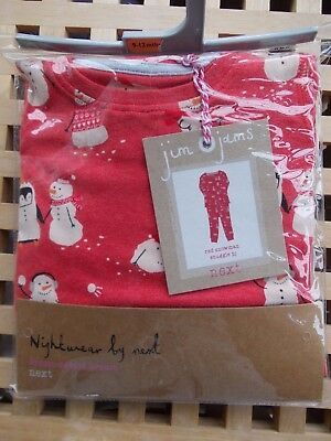 BNWT Next Red Long Sleeve Snowman Christmas Pyjamas - Size 9-12 Months