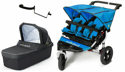 New Out n About nipper 360 double v4 in Lagoon blue with 1 carrycot black & pvc
