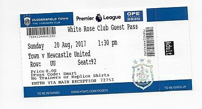 Huddersfield Town V Newcastle Unted 1St Premier League Game Ticket Stub Fa Cup