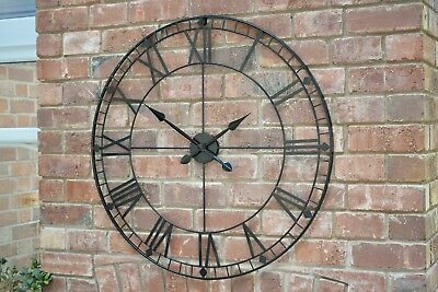 88Cm Black Extra Large Iron Metal Roman Numerals Skeleton Style Wall Clock