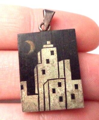 """Vintage Estate Signed Mexico 925 Sterling Silver Building 1 1/4"""" Pendant!! 6744W"""