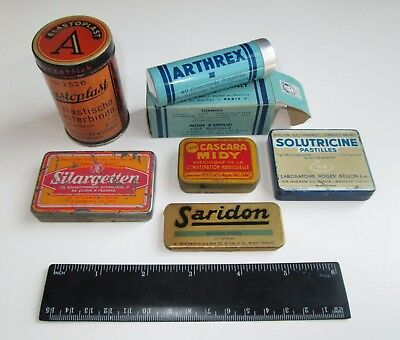 lot of 6 VINTAGE ANTIQUE PHARMACY APOTHECARY MEDICINE DRUG TIN CASES PACKAGES