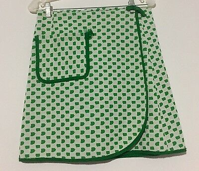 Vintage Green And White Wrap Skirt, Size M