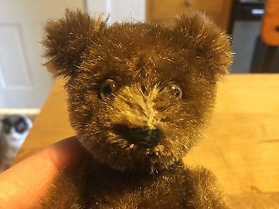 Antique Vintage Miniature Jointed Schuco German Mohair Brown Yes No  Teddy Bear