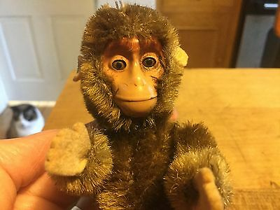 Antique Vintage Miniature Jointed Schuco German Mohair Brown Yes No Monkey Ape