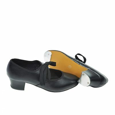 Black Pu Cuban Heel Tap Shoes Heel & Toe Taps Fitted (Adult 2 - Adult 8)