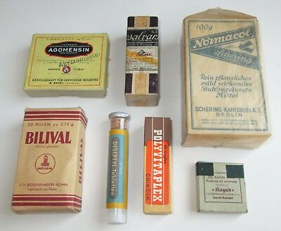 7 Vintage Antique Pharmacy Apothecary Medicine Drug Glass & Paper Cases Packages