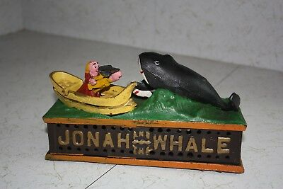Cast Iron Jonah and the Whale Mechanical Bank