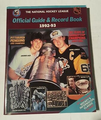 ifficial guide & record book 1992-93 mario lemieux / jaromir jagr cover
