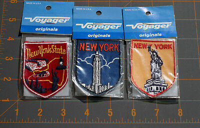 NOS Vintage Lot Of 3 New York State/City Voyager Sew On Patches Empire Liberty