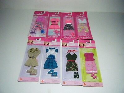Vintage 1996 1997 1998 1999 2000 Lot of 8 Mattel  Barbie Go In Style Fashions