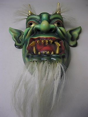 """Hannya Wood Carved And Painted Evil Devil Japanese Warrior W/ Hair - Approx 12"""""""
