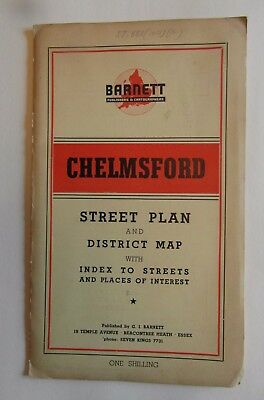 Vintage Street plan of Chelmsford Essex - Barnett Map with Local Adverts 1950's