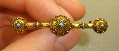 Antique Victorian 14k Yellow Gold & Turquoise Pin Brooch, 2.86 Grams
