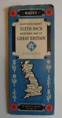 Vintage Bartholomew Map,Wales for the RAC - Excellent Condition.