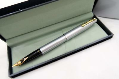 New Old Stock Sheaffer Imperial 444Xg Brushed Chrome Gold Fittings Fountain Pen