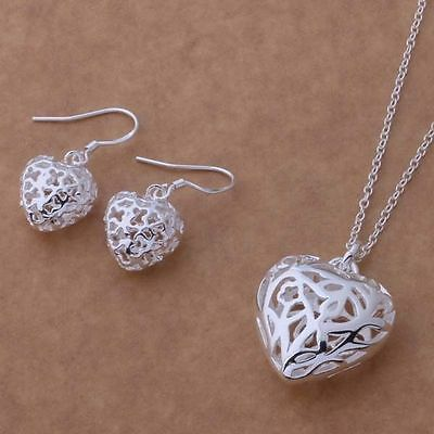 Free P&p Ladys Gift 925 Silver Gift Jewelry Necklace Earrings Set