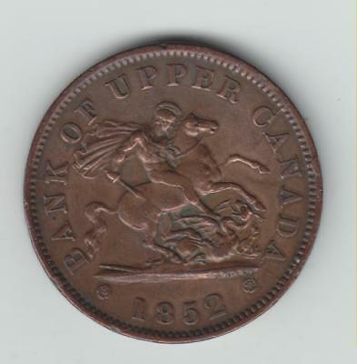 Scarce 1852 Bank Of Upper Canada One Penny Token, GF, Only 750k Minted