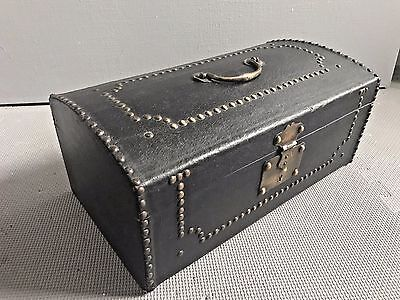 Excellent Antique Studded Covered Trunk 18th Century Travel Chest Stagecoach Box