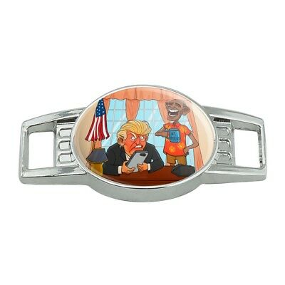 Obama Laughing at Trump Funny President Shoe Shoelace Tag Runner Gym Charm