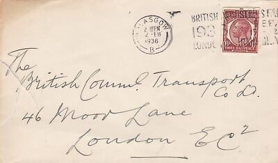 GB 1936 Cvr Use of 1½d Cut-out From PSE Glasgow to London