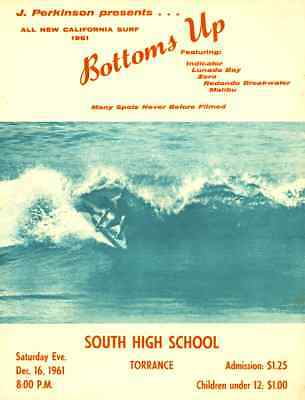 1961 Surf Movie Poster – BOTTOMS UP – J. Perkinson