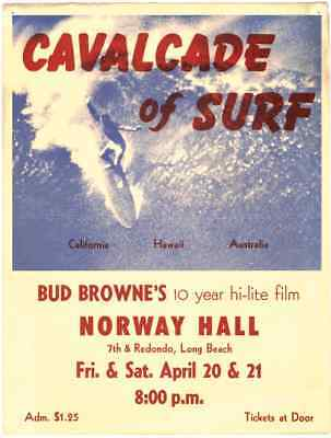 1962 Surf Movie Poster – CAVALCADE OF SURF – Bud Browne