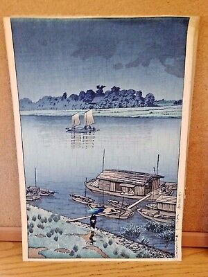 Antique Japanese woodblock print - Signed