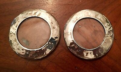 PAIR OF ROUND SOLID SILVER PICTURE / PHOTO FRAME London 1919
