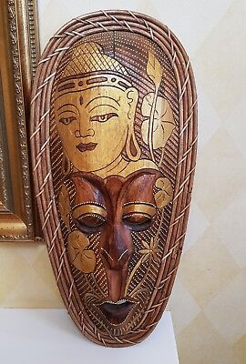 Detailed Hand Carved & Dot Painted Indonesian Wooden/Bamboo Edge Wall Face Mask