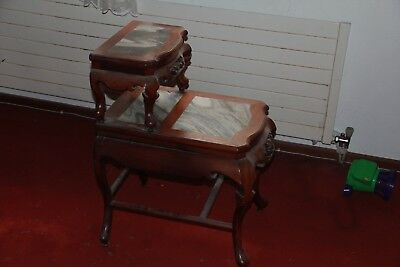 Chinese 2 Tier Side Table with Marble top