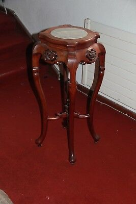 Oriental Tall Plant Stand With Marble Top