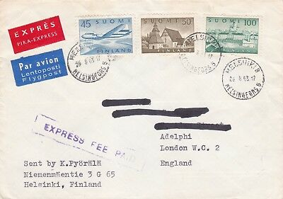 Finland 1963 Express Airmail Cover Helsinki to London UK 1.95 Rate