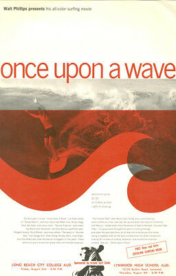1963 Surf Movie Poster ONCE UPON A WAVE – Walt Phillips