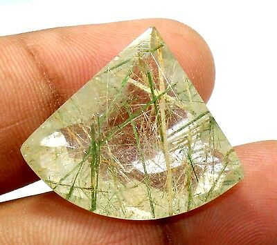 49Ct Natural Green Needle Rutilated Quartz Gemstone 27X31.5mm Fancy Faceted S356