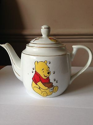 """Small Pooh Bear Decorative Teapot, Gold Coloured Edging, 4"""" in Height"""