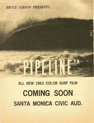 1963 Surf Movie Poster – PIPELINE – Bruce Gibson