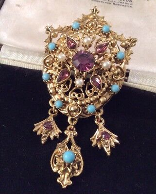 Vintage Jewellery Stunning French Baroque Style Drop Pendant Brooch