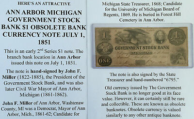 Ann Arbor Michigan Government Stock Bank $1 Obsolete Currency Note 1851 Mayor Vg