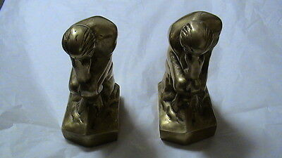 Solid Brass Book Ends Man Thinking Figurine Made In Korea    S2