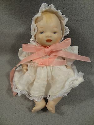 """BYE-LO Marked COPR BY GRACE S PUTNAM GERMANY Jointed BISQUE DOLL Dress Hat 5"""""""
