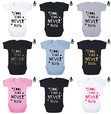 COOL KIDS NEVER SLEEP, Newborn, present, baby shower, BABY VEST / Bodysuit
