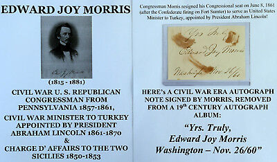 Civil War Congressman Pa President Lincoln Ambassador Turkey Autograph Signature