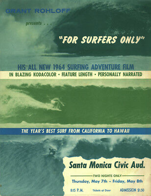 1964 Surf Movie Poster – FOR SURFERS ONLY – Grant Rohloff