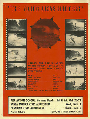 1964 Surf Movie Poster – THE YOUNG WAVE HUNTERS – Bob Evans